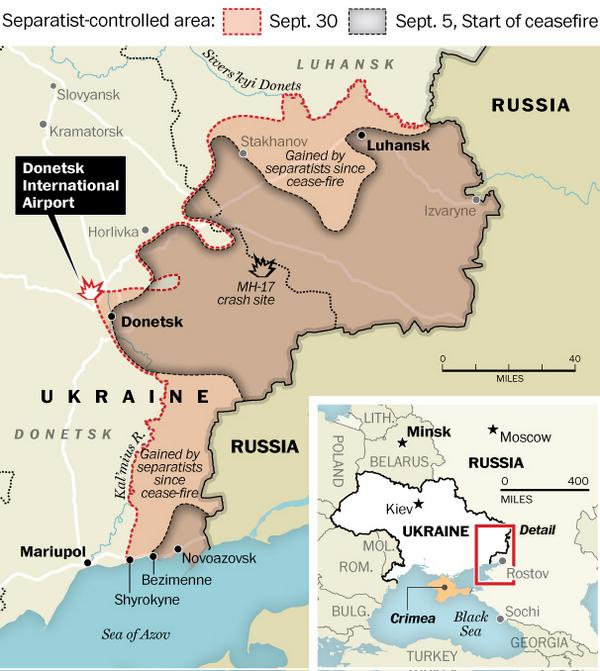 conflict zone as sept 5 2014 first minsk ceasefire and sept 30
