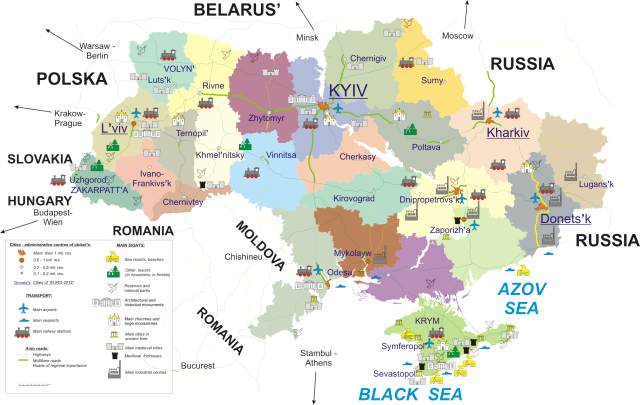 Political map Ukraine regions