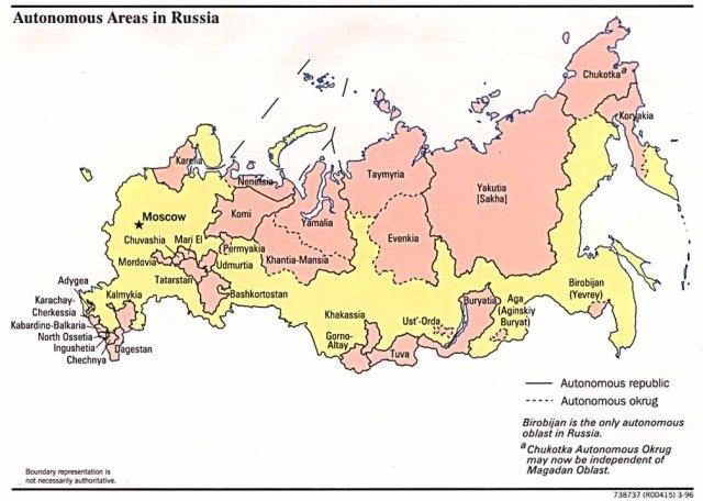 Russia RF autonomies 1996