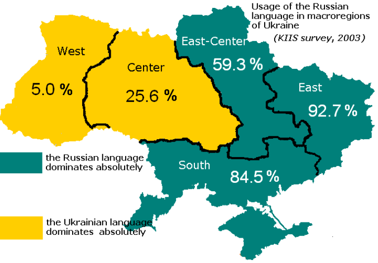 Ukraine maps eurasian geopolitics ukraine russian language use by broad region survey results from 2003 gumiabroncs Images