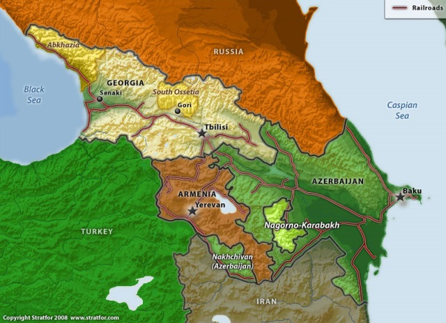 Caucasus railroads map