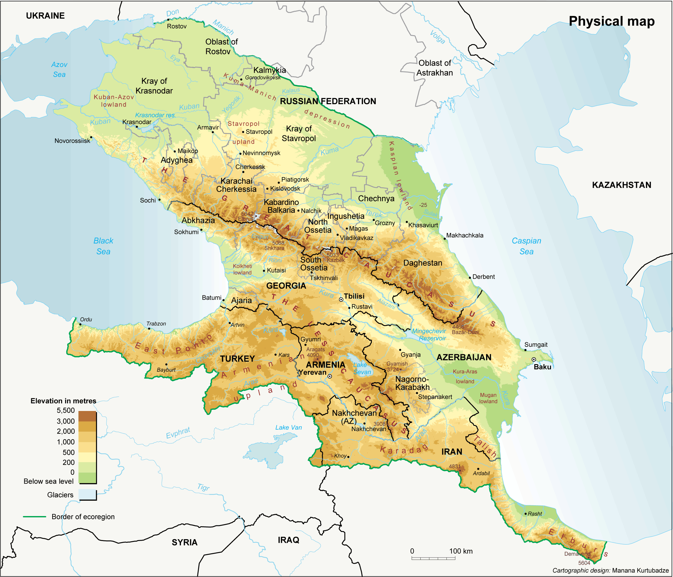South Caucasus Maps Eurasian Geopolitics - Physical map of russia