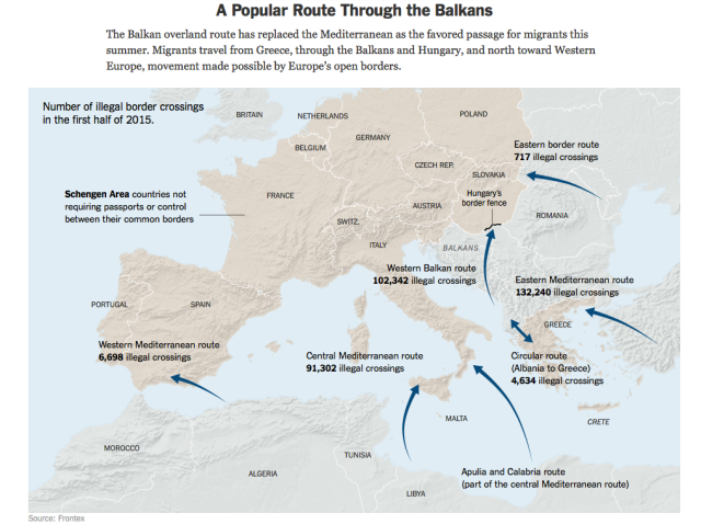 Asylum Routes to Europe NYT