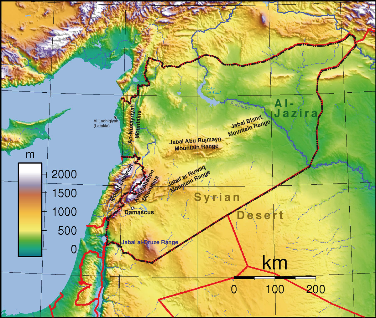Syria topographic map eurasian geopolitics syria topographic map gumiabroncs Choice Image