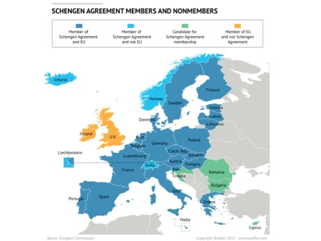 Source: Stratfor. The Schengen zone