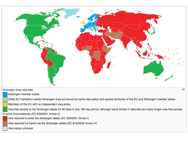 Countries with visa-free access to Schengen (in green). Source: Wikipedia