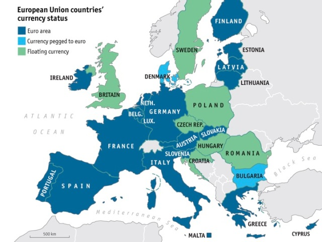 Eurozone countries. Source: The Economist