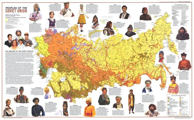 USSR National Geographic ethno-linguistic map (1974) (politically incorrect but heuristically useful)