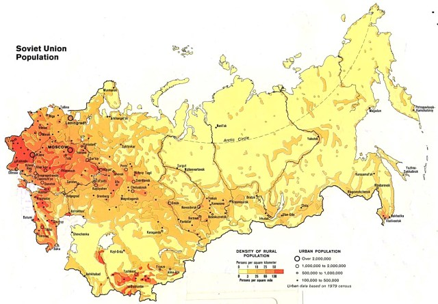 USSR population density, 1982