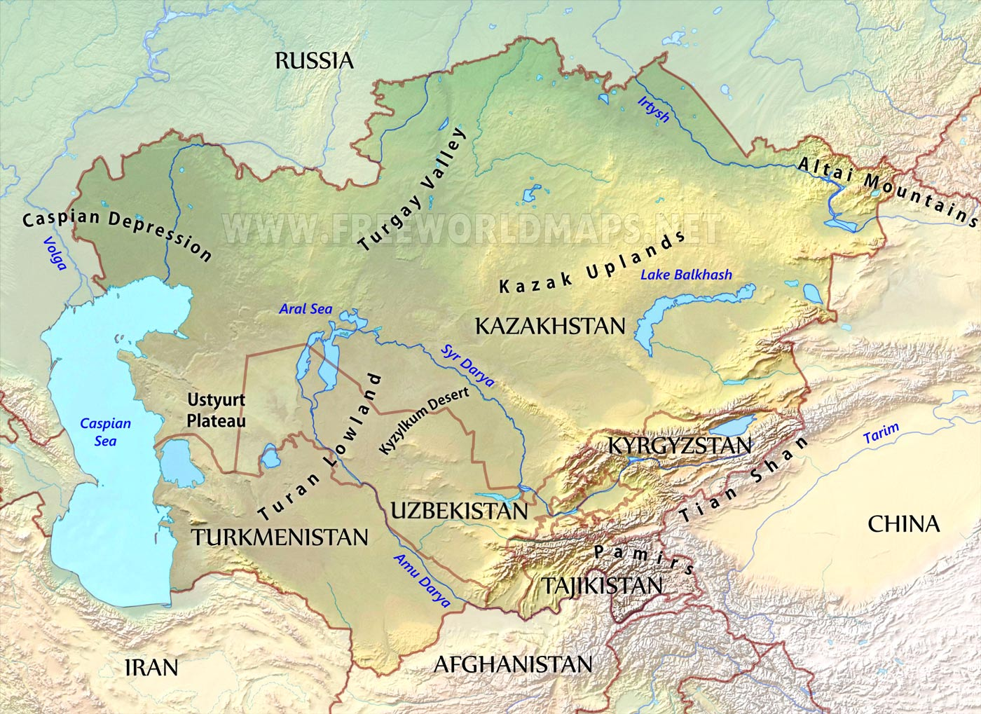 centralasia-physical-map | Eurasian Geopolitics