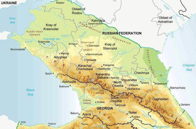 north-caucasus-physical-map-chechnya-ingushetia-stavropol-kabardino-balkaria-adygea-dagestan-karachai-cherkessia