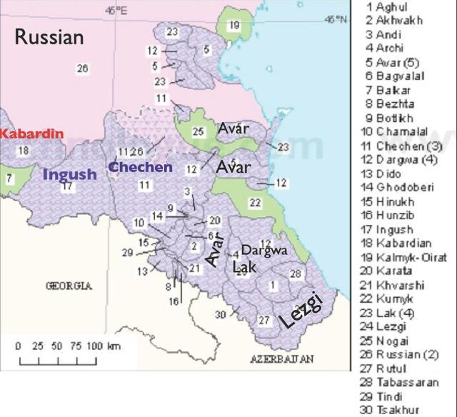 Dagestan ethno-linguistic distribution map